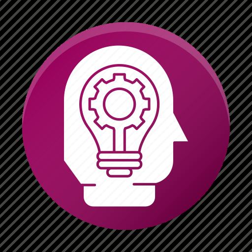 business, corporate, efficiency, gear, head, idea icon