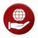 business, corporate, global, globe, hand icon
