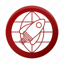 business, corporate, global, mission, rocket icon