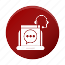 business, chat, corporate, device, headphone, speech icon
