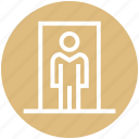 door, entry, home, human, person, user icon