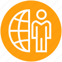 client, communication, earth, globe, management, user, world icon