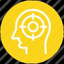 business, employee, focus, head, management, mind, target