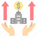 bank, benefit, corporate, growth, turnover icon