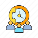clock, collaborate, company, contact, corporate, people, phone icon
