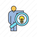 creative, idea, light bulb, magnifier, people, search icon
