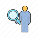 human resource, magnifier, people, recruiting, search icon