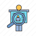 business card, magnifier, people, profile, scan icon