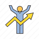 arrow, graph, growth, people, profit, success icon