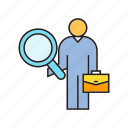 business man, human resource, magnifier, recruitment icon
