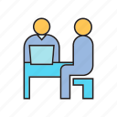 business, corporate, interview, management, meeting, organization, sitting icon