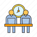 clock, office, people, sitting, time, worker, working hours icon