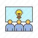 brainstorm, bulb, conference, creative, idea, light bulb, people icon