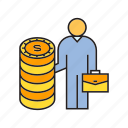 business man, coins, finance, investor, money, stack of coins, wealth icon