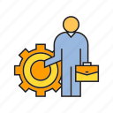 business man, cog, gear, people icon