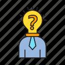 bulb, idea, problem, solve, soution, think, thinker icon