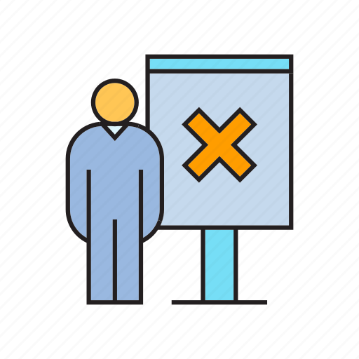 ban, no, people, present, whiteboard, wrong icon