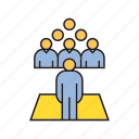 audience, conference, leader, people, speaker icon