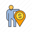 finance, location, money, people, pin icon