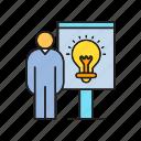 bulb, creative, idea present, light, people, presentation, think icon