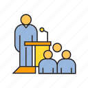 audience, business conference, conference, leader, podium, speaker icon