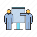 collaborate, corporate, management, office, organization, present, whiteboard icon
