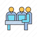 business, business meeting, collaborate, management, office, organization, sitting icon