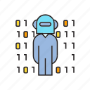 android, artificial intelligence, binary, cyborg, digital, humanoid, robot icon