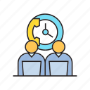 call center, clock, office, people, phone, working icon