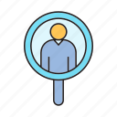 human resource, magnifier, recruiting, recruitment, scan, search icon