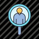 human resource, magnifier, recruiting, recruitment, scan, search