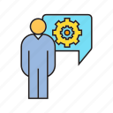 cog, gear, people, setting, speech bubble icon