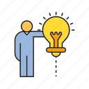 creative, idea, light, light bulb, people, think icon