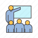 audience, office, people, present, training, whiteboard icon