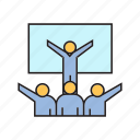 leader, people, presentation, success, training icon