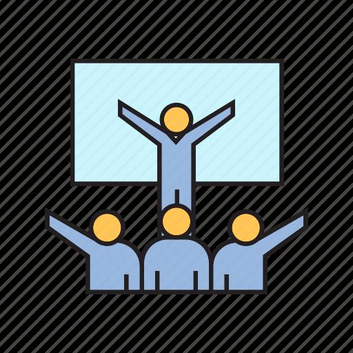 leader, people, presentation, success, training icon