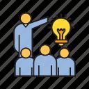 audience, brainstorm, creative, idea present, light bulb icon