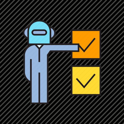 check, check mark, humanoid, robot, tick, vote icon