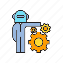 android, artificial intelligence, cogs, gears, humanoid, robot