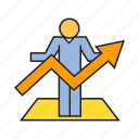 arrow, chart, growth, people, profit icon