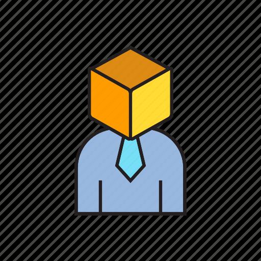 box, business man, idea, problem icon