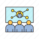 corporate, management, office, online conference, organization, people, worker icon