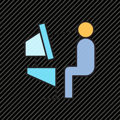computer, desktop, people, sitting, working icon