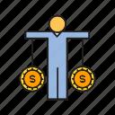 balance, dollar, finance, people, risk icon