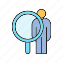 human resource, magnifier, people, recruiting, scan icon