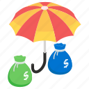 asset safety, business insurance, business safety, financial insurance, money insurance icon
