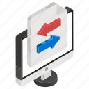 data transfer, document transformation, file sharing, file transfer, online data icon