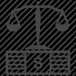 bribery, corruption, court, dishonest, judge, justice, law icon