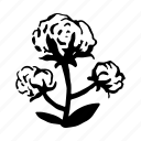 cotton, cotton flower, fabric, flower icon