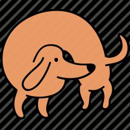 animal, back, canine, dachshund, dog, hunch, pet icon